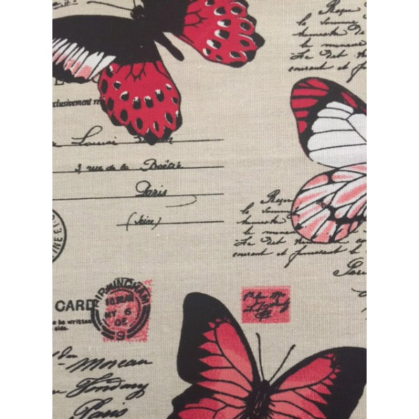 IBF06 Taupe & Red Butterflies