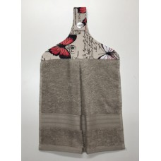 HHT02 - Hanging Hand Towel - Taupe Towel & Red Butterflies