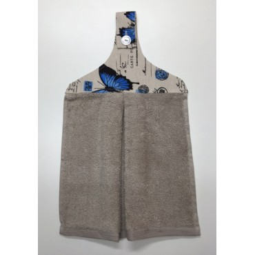 HHT03 - Hanging Hand Towel - Taupe Towel & Blue Butterflies