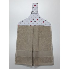 HHT04 - Hanging Hand Towel - Taupe Towel & Multispots