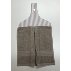 HHT05 - Hanging Hand Towel - Taupe Towel & Taupe Stripes