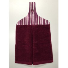 HHT06 - Hanging Hand Towel - Burgundy Towel & Fuchsia Stripes