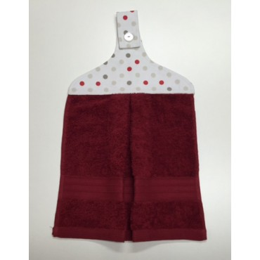HHT07 - Hanging Hand Towel - Burgundy Towel & Multispots