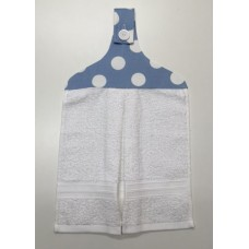HHT10 - Hanging Hand Towel - White Towel & Blue with White Spots