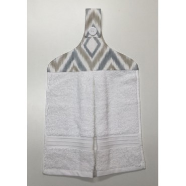 HHT11 - Hanging Hand Towel - White Towel with Taupe & Grey Design