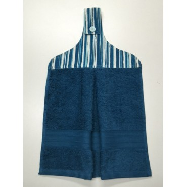 HHT13 - Hanging Hand Towel - Teal Towel & Teal Stripes