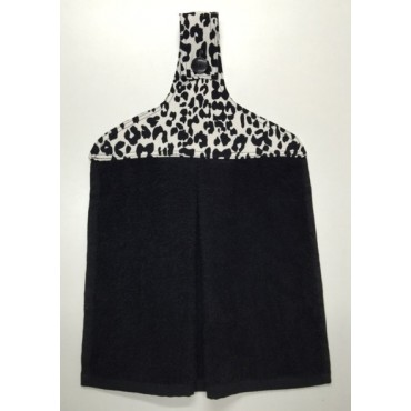 HHT14 - Hanging Hand Towel - Black Towel with Leopard Print
