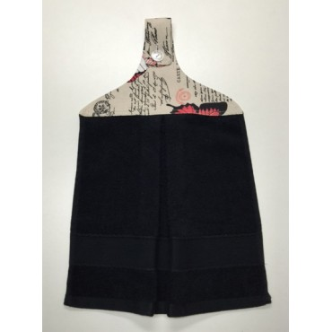 HHT15 - Hanging Hand Towel - Black Towel & Red Butterflies