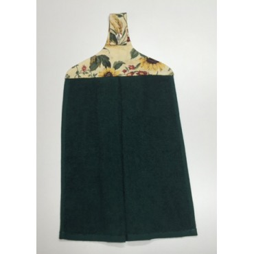 HHT16 - Hanging Hand Towel - Bottle Green Towel with Sunflower Print