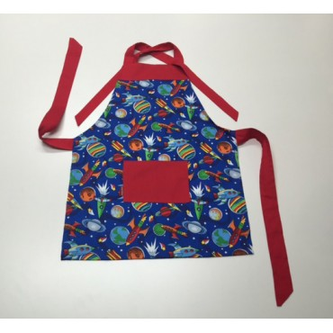 KA07 - Kids Aprons - Spaceships with Red Trim
