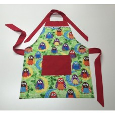 KA10 - Kids Aprons - Giggle & Hoot with Red Trim