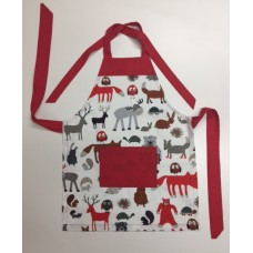KA12 - Kids Aprons - Farm Animals with Red Trim