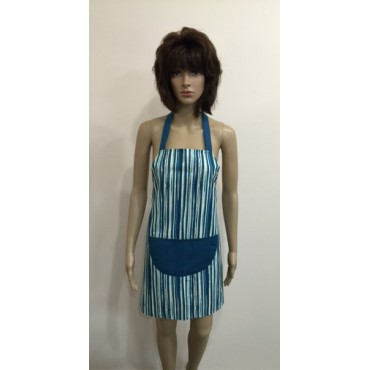 LA01 - Ladies Aprons - Teal Stripe
