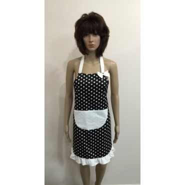 LA05 - Ladies Aprons - Black & White Spots One Pocket & Bow