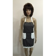 LA06 - Ladies Aprons - Black & White Spots - Two Pockets