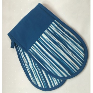 OMD02 - Oven Mitts - Double Teal Stripe