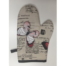 OMO03 - Oven Mitts - Oyster Red Butterflies & Postcards