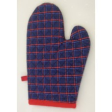 OMO12 - Oven Mitts - Oyster Blue & Red Tartan