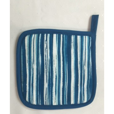 OMPH02 - Oven Mitts - Pot Holders Teal Stripe