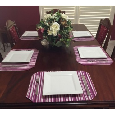 PM01 - Place Mats - Fuchsia Stripe