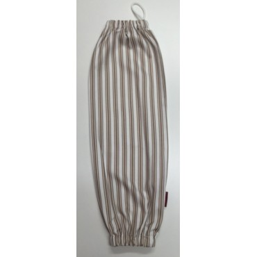 PBH08 - Plastic Bag Holder - White & Taupe Stripes