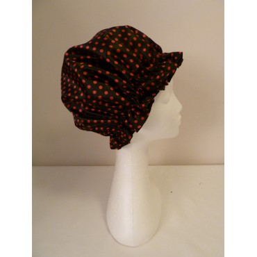 Satin Shower Cap - Black with Large Red Spots