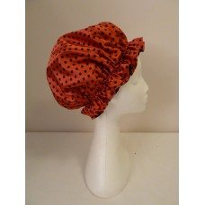Satin Shower Cap - Red with Large Black Spots