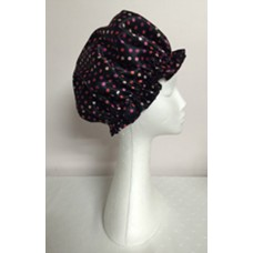 Satin Shower Cap - Black with Multi Pink Spots