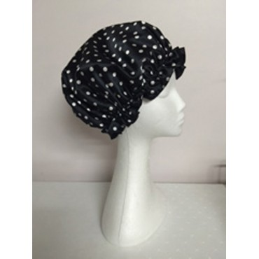 Satin Shower Cap - Black with White Spots