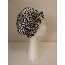 Satin Shower Cap - White with Black Spots
