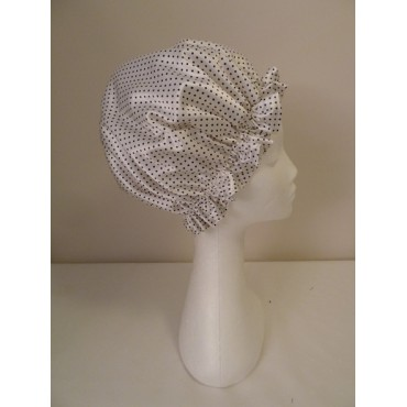 Satin Shower Cap - White with Small Black Spots
