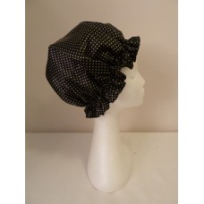 Satin Shower Cap - Black with Small White Spots