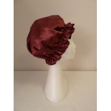 Satin Shower Cap - Burgundy with Small Black Spots