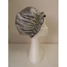 Satin Shower Cap - Silver Grey with Small Black Spots