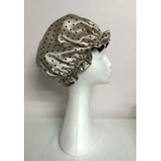 Satin Shower Cap - Gold with Black Spots