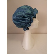 Satin Shower Cap - Teal with Small Black Spots
