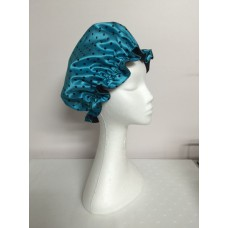 Satin Shower Cap - Aqua Marine with Black Spots