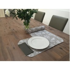 TR01 - Table Runners - Taupe & White Butterflies