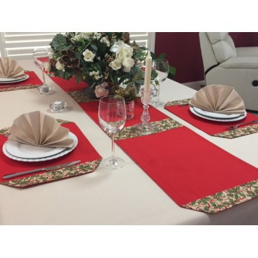TR09 - Table Runners - Red with Christmas Holly Trim