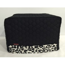 TC21 - Toaster Covers 2 & 4 Slice - Black Quilted with Leopard Print Trim