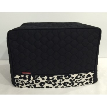 TC21 - Toaster Covers 2 Slice - Black Quilted with Leopard Print Trim