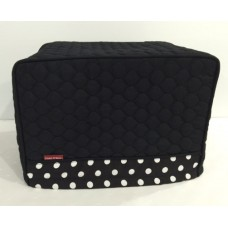 TC22 - Toaster Covers 2 & 4 Slice - Black Quilt with Black & White Spots Trim
