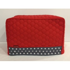 TC19 - Toaster Covers 2 & 4 Slice - Red Quilt with Grey & White Spots Trim