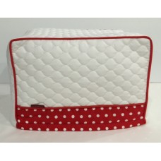 TC25 - Toaster Covers 2 & 4 Slice - White Quilt with Red & White Spots Trim - Red Piping