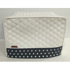 TC26 - Toaster Covers 2 & 4 Slice - White Quilt with Grey & White Spots Trim