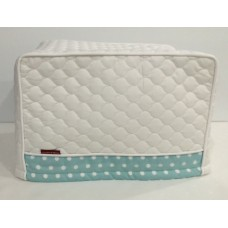 TC28 - Toaster Covers 2 & 4 Slice - White Quilt with Light Teal Contrast Trim