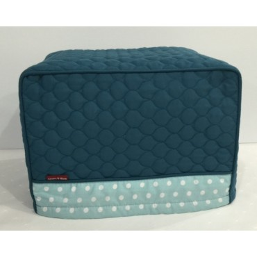 TC12 - Toaster Covers 2 & 4 Slice - Teal Quilt with Light Teal & White Spots Trim