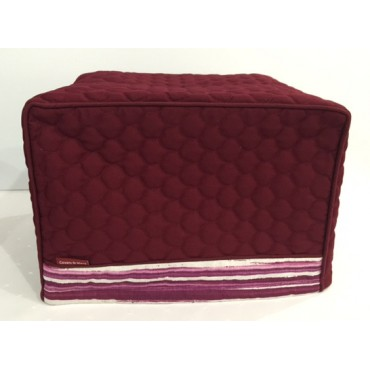 TC15 - Toaster Covers 2 & 4 Slice - Maroon Quilt with Fuchsia Strips Trim