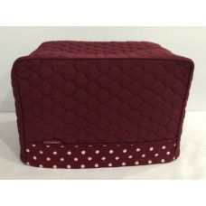 TC16 - Toaster Covers 2 & 4 Slice - Maroon Quilt with Maroon & Cream Spots Trim