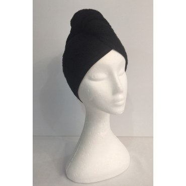 Twist Up Terry Hair Wrap - Black